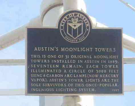 Plaque on inside of a Moonlight Tower