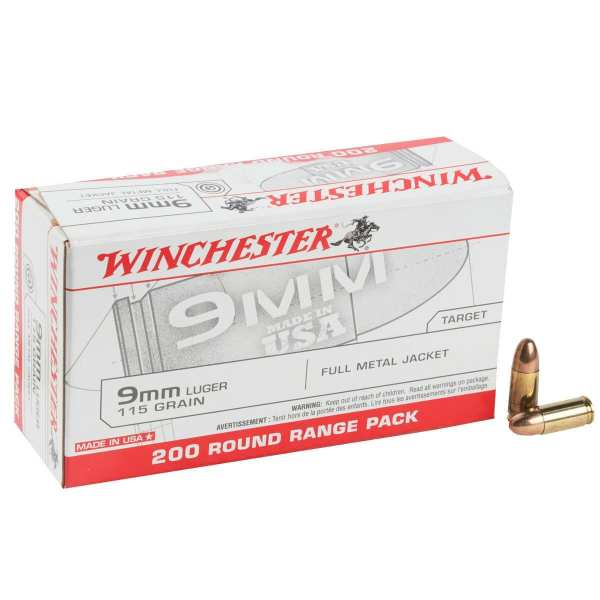 9mm Luger | Winchester - FMJ - 115 Grains - 200 Round Range Pack