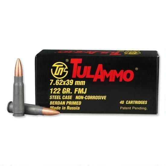 7.62x39   Tula - FMJ Steel Cased - 122 Grains - 40 Rounds