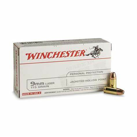 9mm Luger   Winchester - JHP - 115 Grains - 50 Rounds