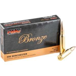 PMC 308 (7.62x51) Winchester Bronze 147 Grain Full Metal Jacket Boat Tail 20 rounds