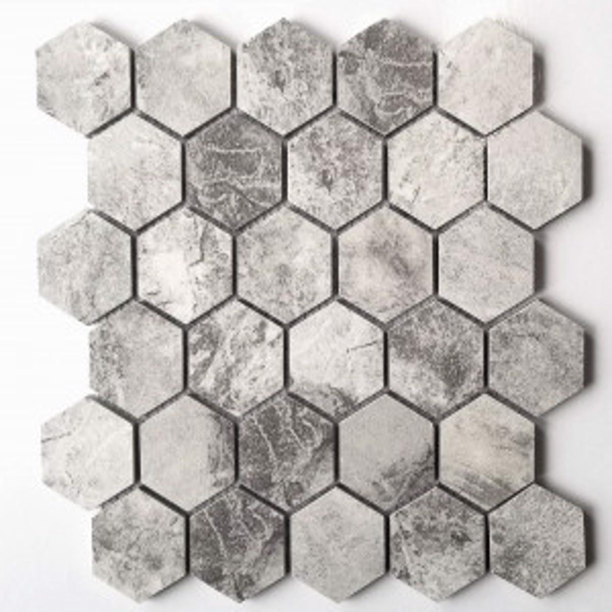 storm grey matte tru stone 2x2 hexagon mosaic porcelain tile