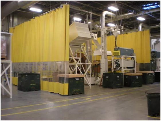 industrial curtains in use in a warehouse