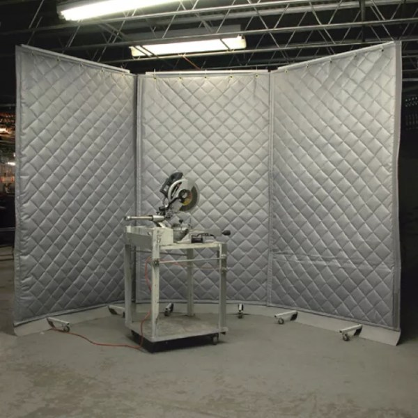 curtains being used to deter high noise in industrial facility