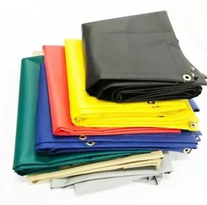 18 oz Vinyl Coated Tarps Folded and Available in Many Colors