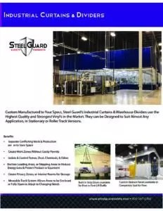 Industrial Curtains & Dividers Sell Sheet with Features and Benefits