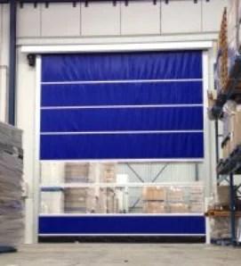 High Speed Vinyl Roll Up Door in Blue Vinyl on Interior of Shipping Dpeartment