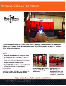 Welding Curtain Partition Sell Sheet with Features & Benefits