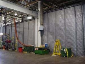 Industrial Noise Control Curtain at Olympus Factory Blocking Low Hertz Sound