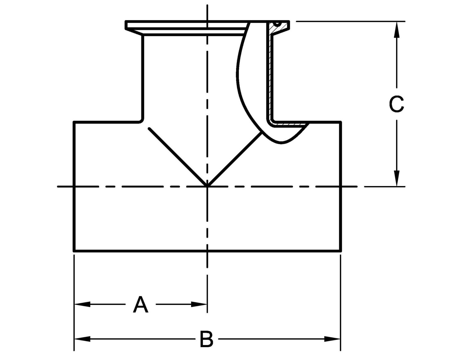 7wwm Tee Weld X Weld X Clamp Outlet