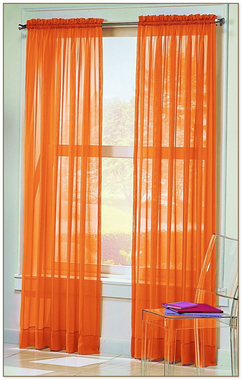 White And Orange Curtains
