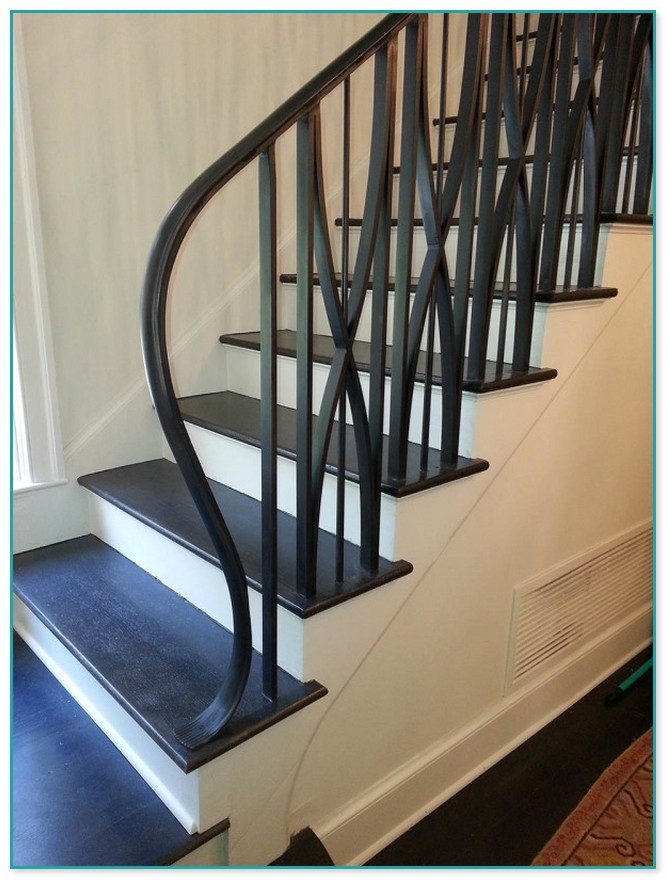 Wrought Iron Stair Spindles | Wrought Iron Staircase Spindles | Basement Stair | Rot Iron | Outdoor | Wooden French Country Newel Post | Foyer
