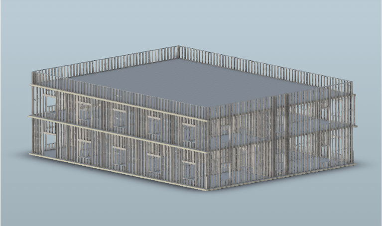 Example 2-story cold-formed steel structure modeled in Revit using ASI's SteelSmart Framer BIM plugin.