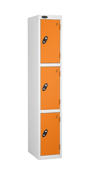 probe 3 doors steel locker orange