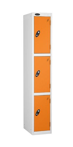probe 3 doors steel locker orange