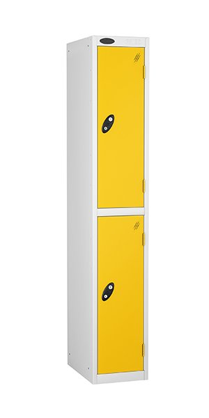 probe two door steel locker yellow