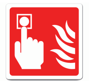 Fire alarm location signage | fire safety alarm label | break glass in case of fire label