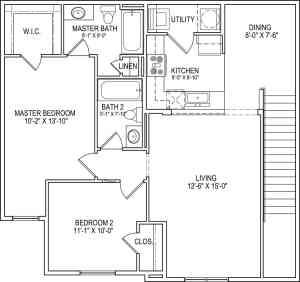 2 Bed / 2 Bath / 1,032 sq ft