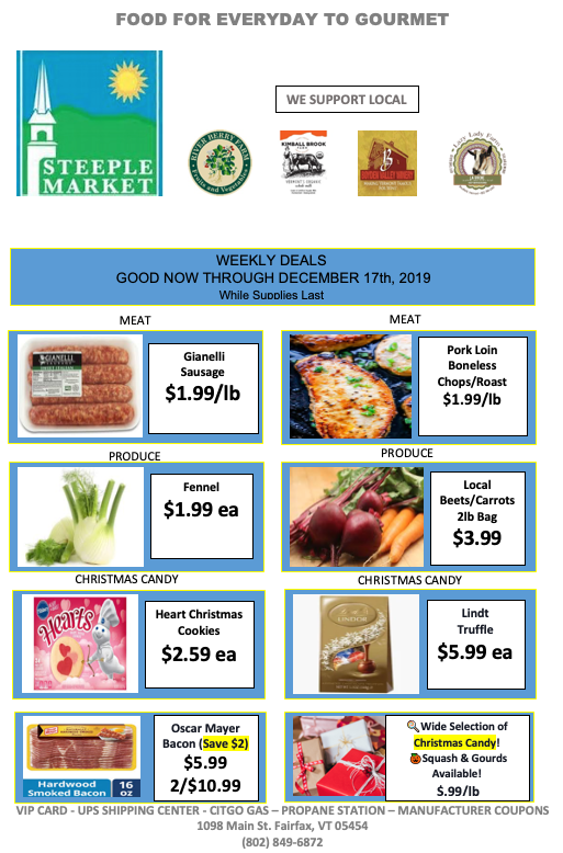 weekly deals available in store at steeple market