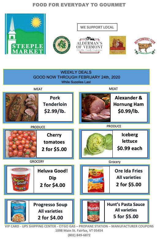 weekly deals steeple market