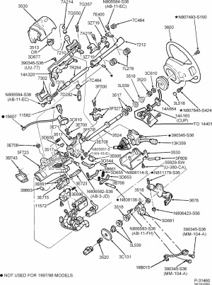 exploded view for the 1998 Ford F 150 tilt | Steering
