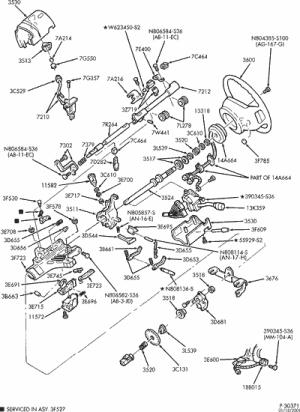 exploded view for the 1997 Ford Ranger tilt | Steering