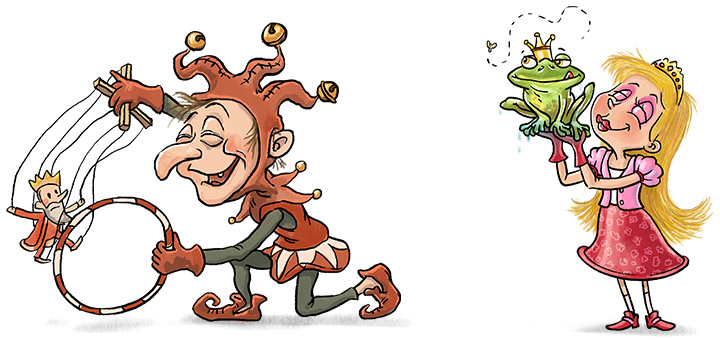 characterdesign-prinzessin-hofnarr-illustration-maerchen-fantasy