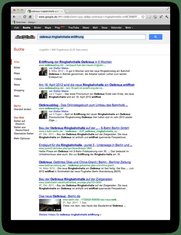 Autoreninfo aus Google Plus Profil in den Suchergebnissen