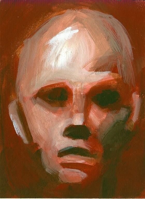 Il dipinto di un volto su cartone è una cartolina