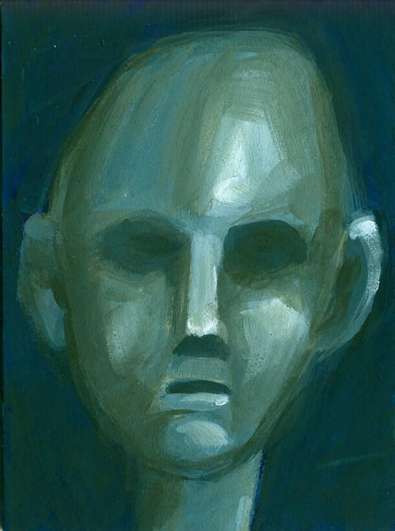 ritratto in verde (fronte di una cartolina)