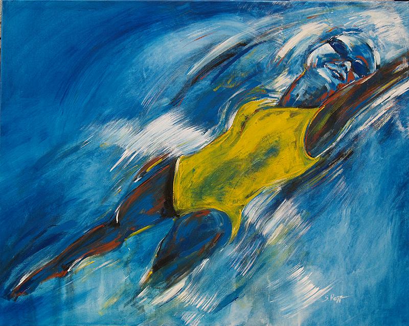 Serie SportMotivation, Expressionismus, Malerei, Schwimmerin