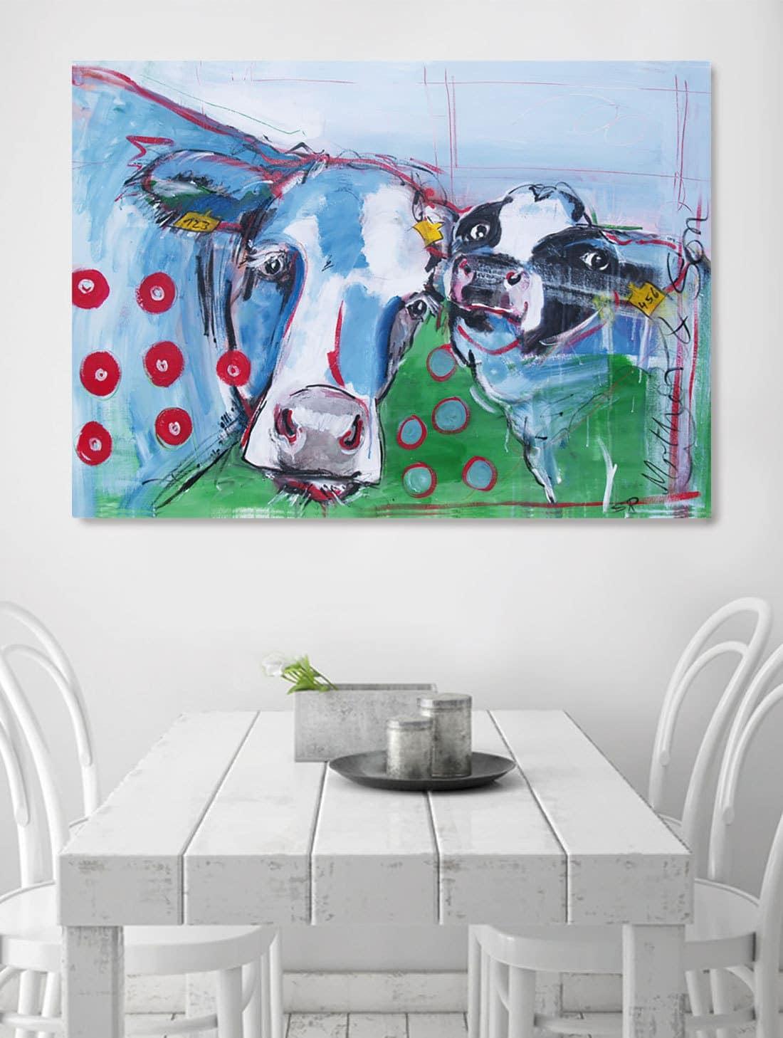 ... Kunstdruck Kuh Und Kalb, Druck Nach Moderne Malerei, Wandbilder Für  Küche, Küchenbilder