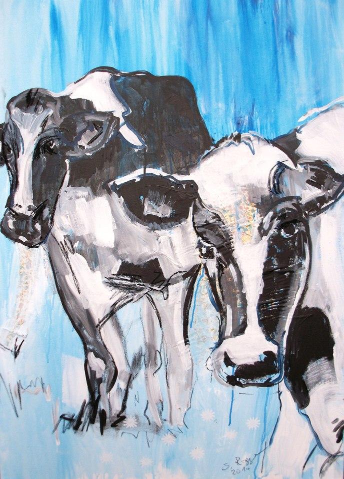 Kuh Bild Leinwand, Expressionismus, moderne Malerei, Motiv Kuh