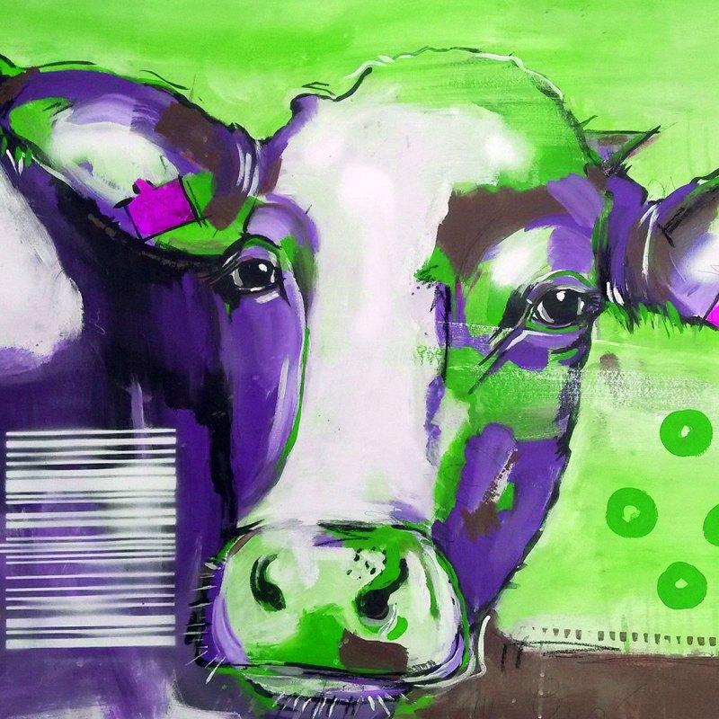Kuh Bilder auf Leinwand: Pop Art Kuh, Kunstdruck kaufen