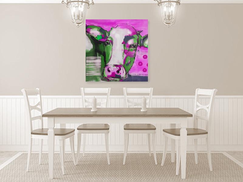 Kuh Pink Kunstdruck, Moderne Kunst im Kunst Shop kaufen