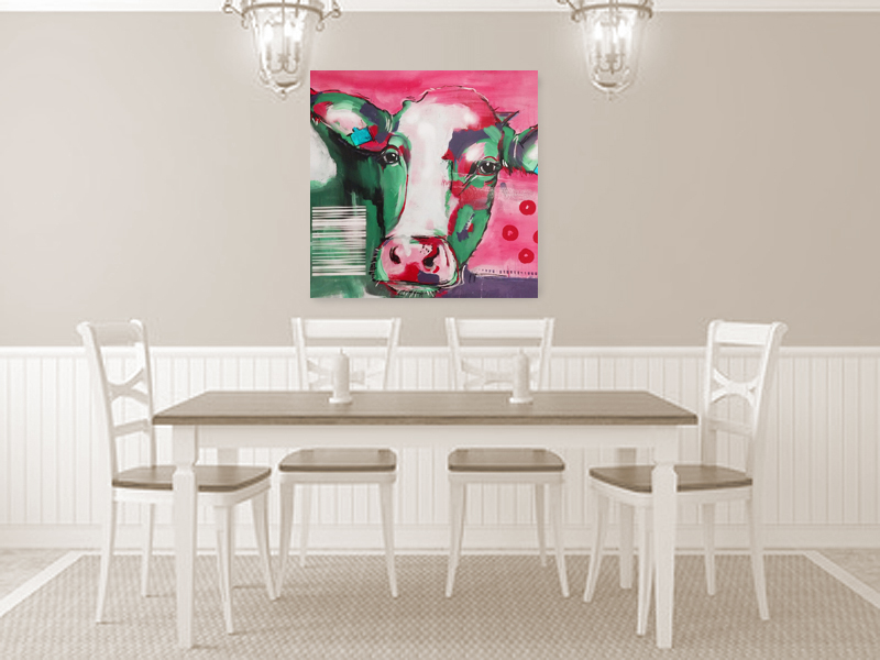 kunstdruck kuh in rot auf leinwand atelier stefanie rogge. Black Bedroom Furniture Sets. Home Design Ideas