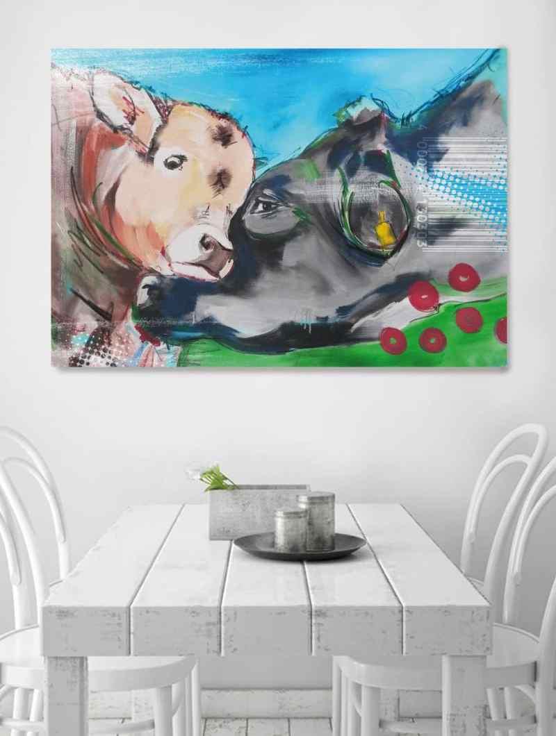 Kuh Bilder auf Leinwand, Bilder für die Küche, Küchenbilder, Kuhbilder, bunt, moderne Malerei