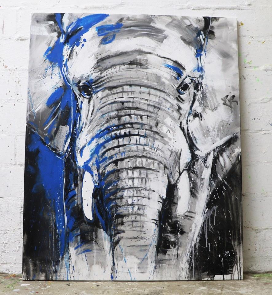 Kunstdruck Elefant, Acryl Malerei auf Leinwand