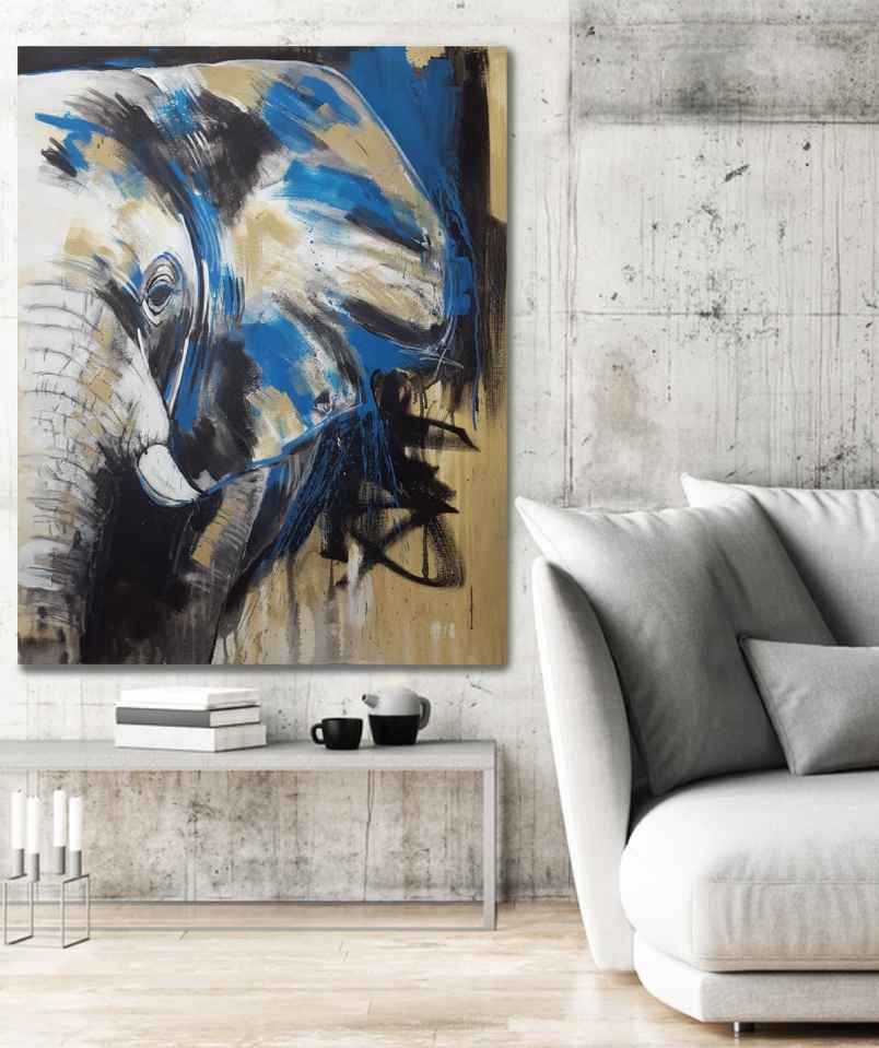 Zeitgenössische Malerei: Elefant Portrait von Künstlerin Stefanie Rogge