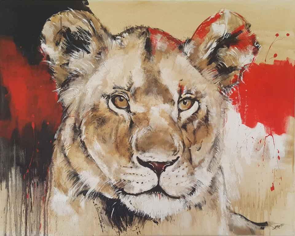 Löwin, zeitgenössische Malerei