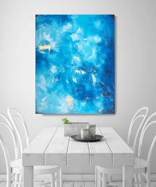 Moderne abstrakte Gemälde in Blau und Gold – Original
