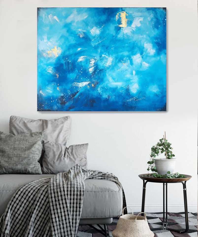 Gemälde Blau und Gold Tiefsee