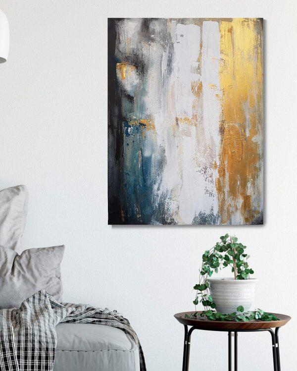 Original abstraktes Gemälde, strukturiert, in den Farben von Küste und Meer, Colorfield, käuflich