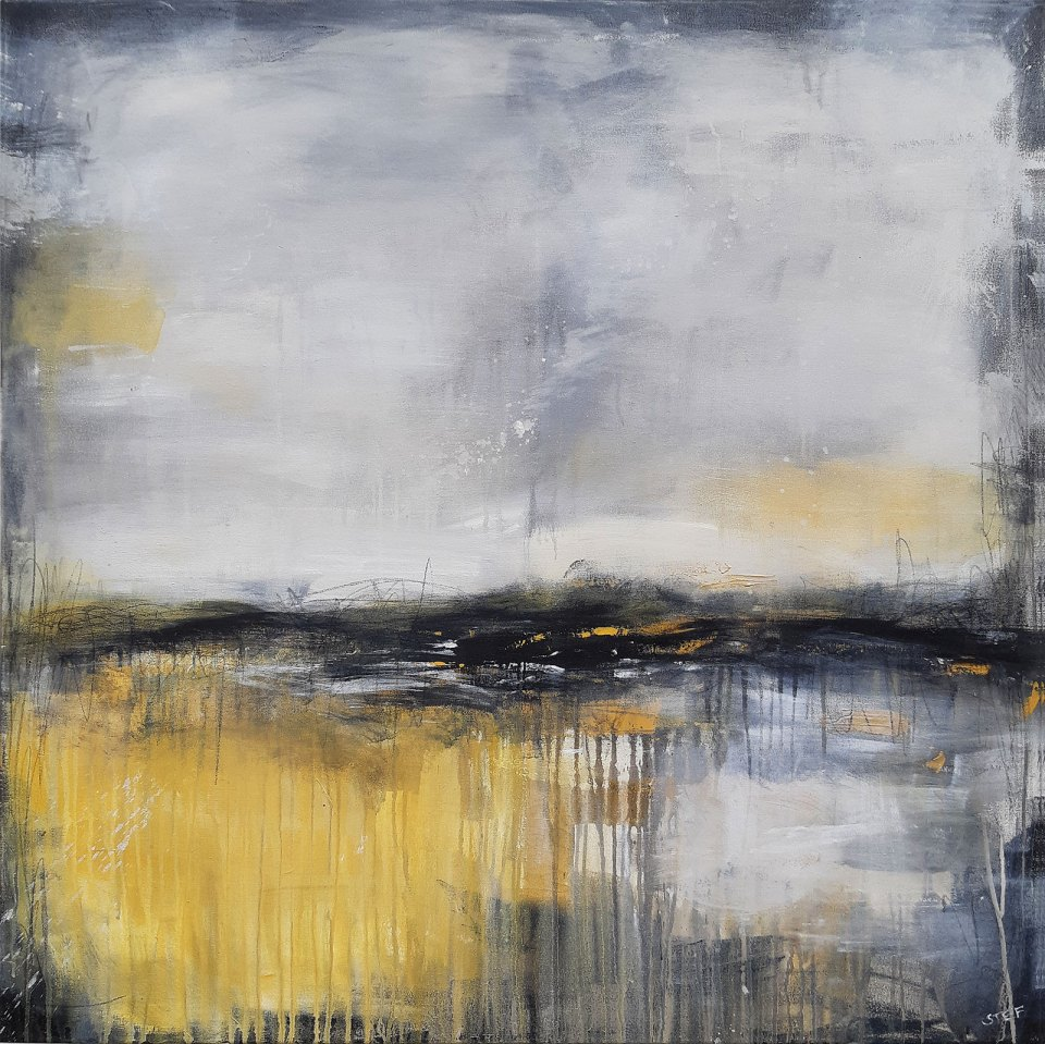 Abstraktes Gemälde, Abstraktes Bild in Grau und Ocker, WEGE UND SPUREN zeitgenössische Malerei von Stefanie Rogge