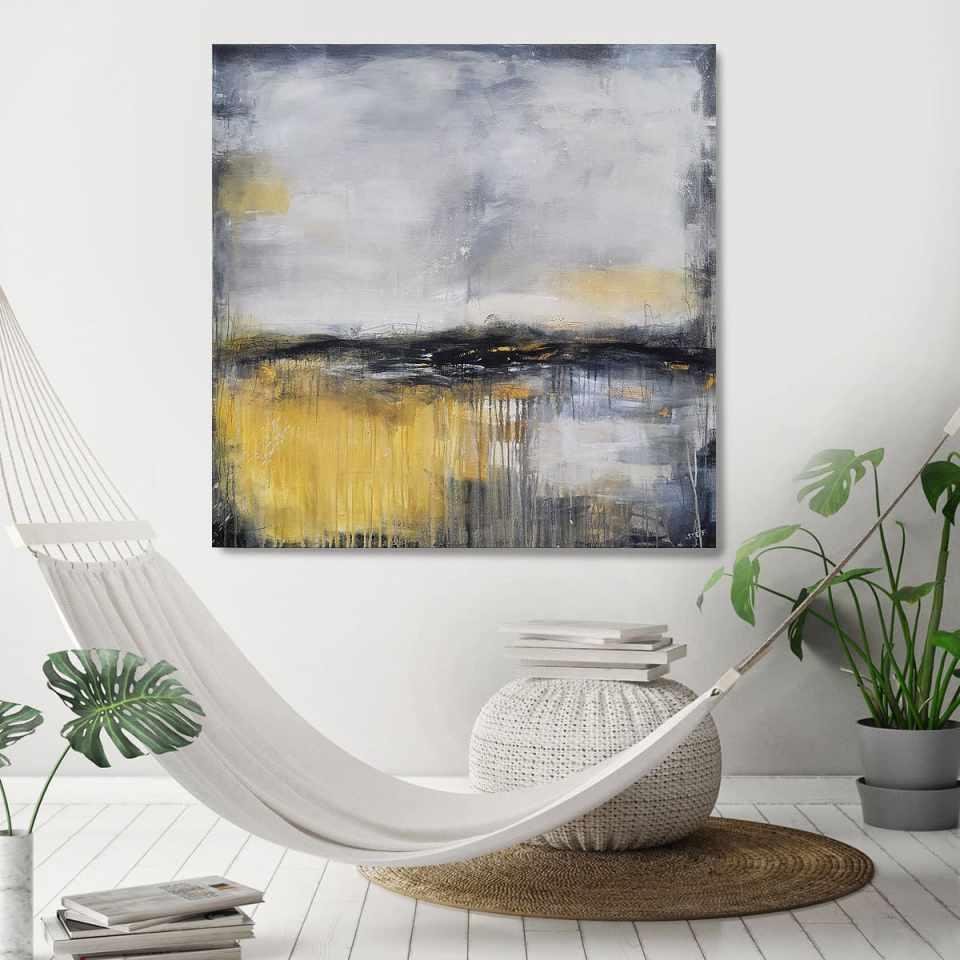 Abstraktes Bild in Grau und Ocker, WEGE UND SPUREN zeitgenössische Malerei von Stefanie Rogge