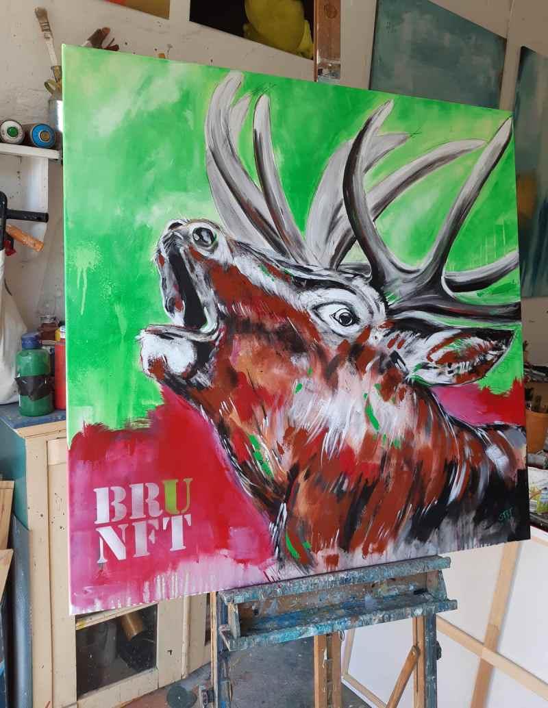Hirsch Gemälde modern 'BRUNFT' im Studio Original von Künstlerin Stefanie Rogge, großformatige Malerei PopArt in Neon, Typo, käuflich