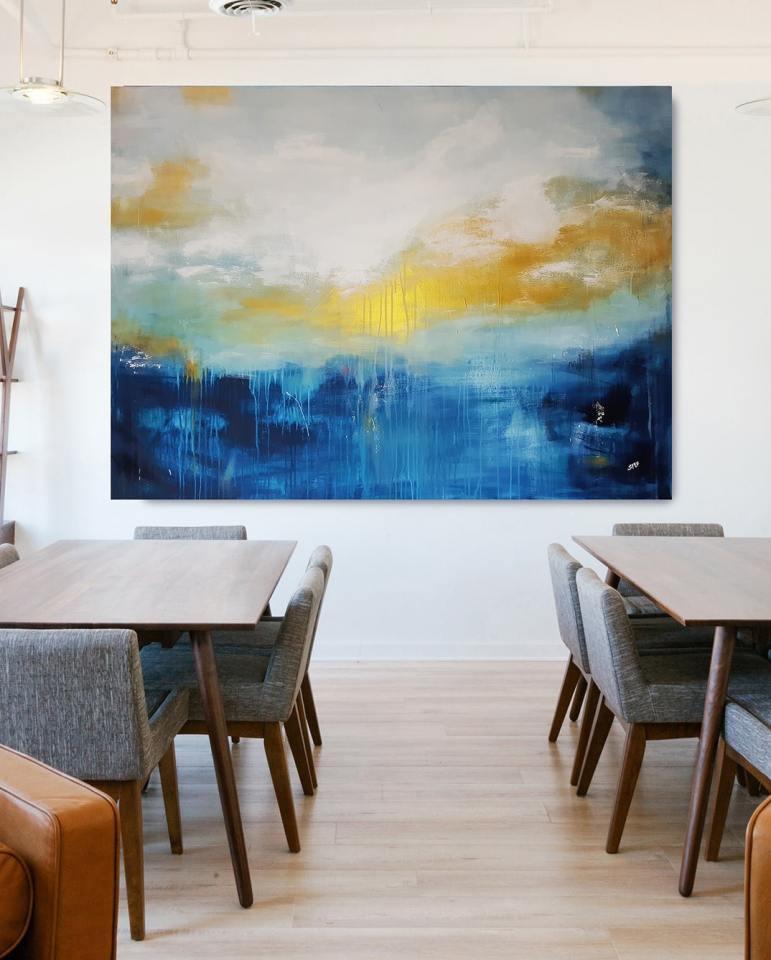 großes Acrylgemälde FLOATING GOLD von Künstlerin Stefanie Rogge, großformatige zeitgenössische Kunst, abstrakt kaufen