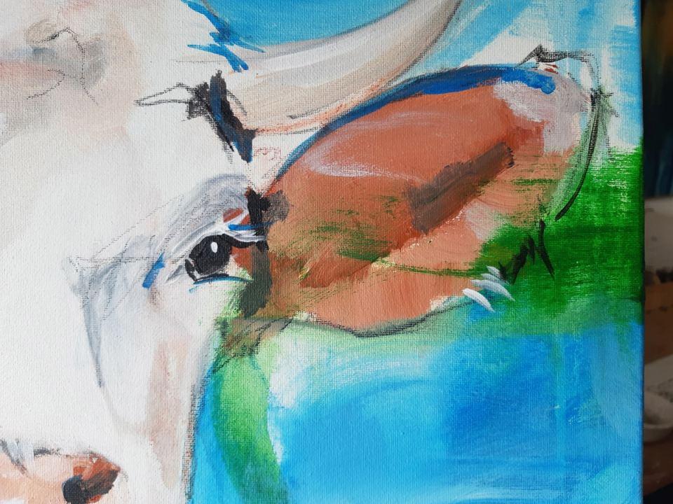 Detail - ORIGINAL zeitgenössische Malerei von Stefanie Rogge KUH NR 11, Gemälde Kuh Kuh Bild gemalt
