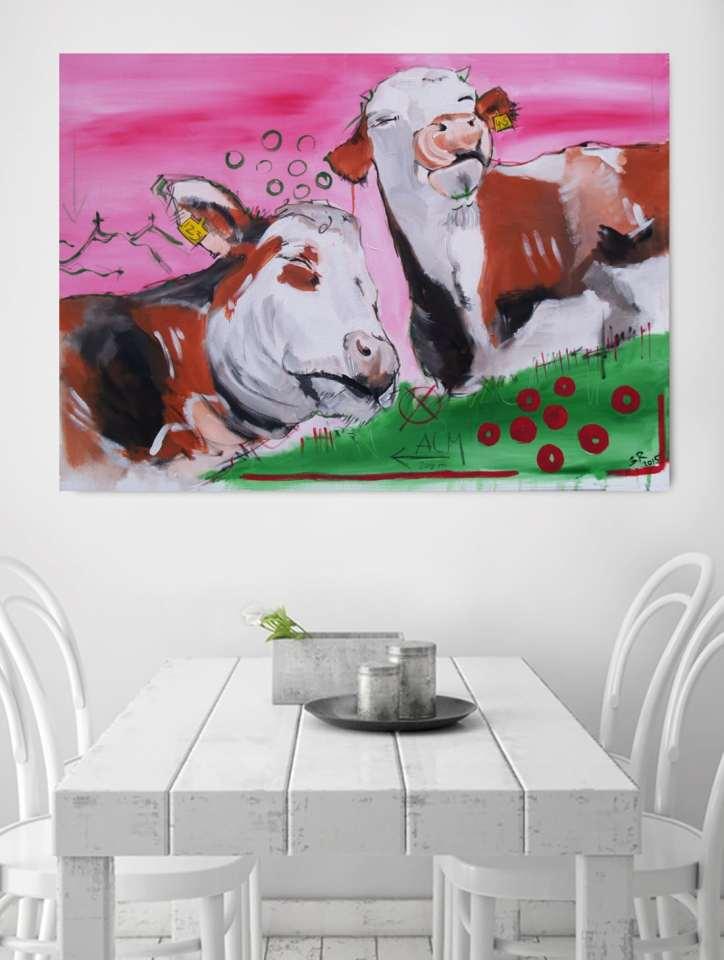 Hochwertige Kunstdrucke nach Original Malerei kaufen ** Zeitgenössische Malerei von Stefanie Rogge ** Kühe Bilder auf Leinwand, Genusskühe aus der Werkserie Kühe codiert