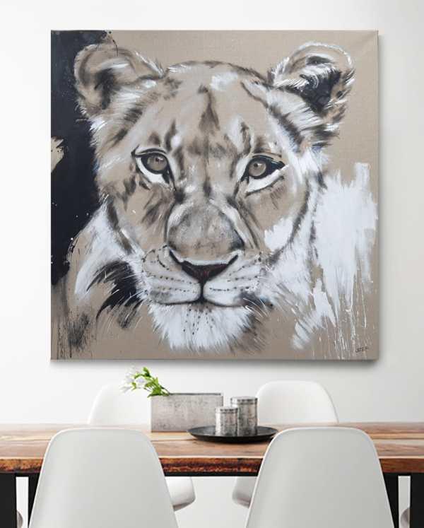 Löwin Leinwandbild Gemälde modern Original von Künstlerin Stefanie Rogge, großformatige Malerei käuflich